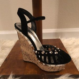 Stunning Black/Silver Studded Spiked Wedges